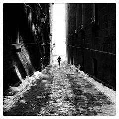 A Corridor of Light (SebRiv) Tags: contrast contrasts monochrome blackwhite blackandwhite noiretblanc streetphoto silhouette kodaktmax100 montreal studioargentique ishootfilm film analog 6x6 square rolleiflex28f rolleiflexfx rolleiflex