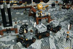 19_Endarmire_Iron_Mine (LegoMathijs) Tags: lego moc legomathijs steampunk mine miners mining rocks iron ore steampowered drones tracked driller flying discovery vehicle explorer speeder transporter transport airship clockwork drone speeders walking steamcopters pickaxe tools crates shaft cranes workshop gears cave docks