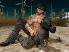 Soft Battle Kitty, Warm Battle Kitty (ScottSilverdale) Tags: secondlife sl postapocalypse apocalypse tralalasdiner battlecat battlekitty battlecats rat rats gasmask helmet necklace tattoo ink dirt dirty ruin ruins rust rusty desolation destruction scottsilverdale signature signaturegianni catwa catwadaniel birth meva flitink letistattoo letis camoflage boots argrace re muscles inked wrongtheowl pose theforge pet petting purr softkitty warmkitty feline stinkmotel weissliquors