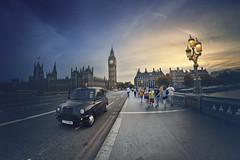 Westmister Bridge (www.javierayala-photography.com) Tags: london england unitedkingdom bigben elizabethtower british icon taxi cab bridge sunset landamrk