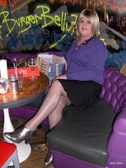 Burger belly x (janegeetgirl2) Tags: transvestite crossdresser crossdressing tgirl tv ts edinburgh day out outside public fashion raincoat ankle boots skirt cardigan