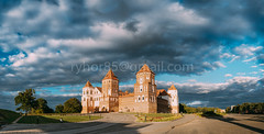 Mir, Belarus. Panorama Of Mir Castle Complex On Blue Sunny Sunset Sky Background. UNESCO Heritage. Famous Landmark, Architectural And Cultural Heritage (Ryhor Bruyeu) Tags: grodnoregion mircastle ancient architectural architecture belarus building castle city complex culture ensemble europe famous feudalism fortress gothic heritage historical landmark landscape medieval mir monument museum nobody old outdoor panorama panoramicview park path red renovated scene sights sightseeing site sky street summer sunny sunset tourism tower town travel unesco view hrodnaregion by