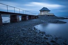 Bathing House (Lars Øverbø) Tags: house bathing sea coast building bridge fence sky evening fornebu oslo norway water seascape seaside