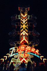 the zipper. holtville, ca. 2018. (eyetwist) Tags: eyetwistkevinballuff eyetwist night holtville california carrotfestival imperialvalley carnival zipper ride nikon 35mm f3t f3hp 28mmf28ais nikkor 28mm cinestill 800t wide wideangle manualfocus analog analogue ishootfilm emulsion filmexif iconla lenstagger desert spin midway fair amusement blinking bulbs dark lettering typography type elcentro calexico americana