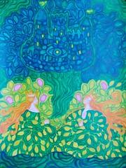 summer fairy tales (lilotus32@ymail.com) Tags: art contemporaryart creation drawing painting picture watercolour акварель джаз искусство рисование творчество summer green gold castle legend лето сказка зеленый золотой