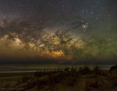 Milky Way over Ocean and Dunes at OBX (Constantine L.) Tags: dunes beach ocean water horizon night nightscape astroscape starscape milky way center galaxy astrophoto astrophotography scorpius constellation rho ophiuchi atmosphere glow canon 6d samyang 24mm stratracking ioptron obx outer banks north carolina astrometrydotnet:id=nova2505594 astrometrydotnet:status=failed
