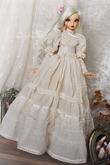 Ancient Magnolia (AyuAna) Tags: bjd ball jointed doll dollfie ayuana design handmade ooak clothing clothes dress set outfit robe gown vetement couture fashion historical style edwardian secession msd slim mnf minifee fairyland size minidesign daraki remy light tan skin