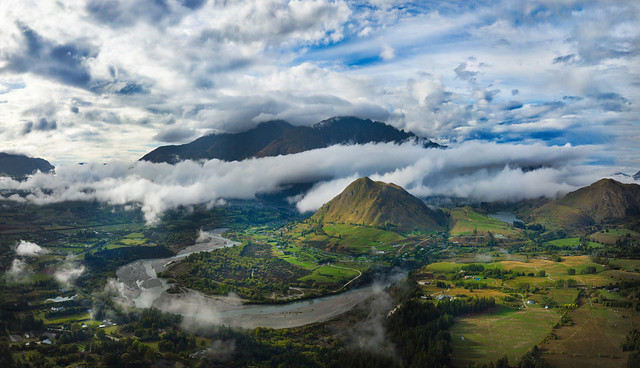 newzealand queenstown purenz treyratcliff stuckincustoms stuckincustomscom hdr hdrtutorial hdrphotography tophdr hdrphoto aurorahdr dji phantom 4 pro mavic quadcopter drone mountain clouds sunset green landscape grass sky road water