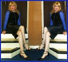 Decisions, Decisions ;-) (Amber :-)) Tags: black navy leather pencil skirt tgirl transvestite crossdressing