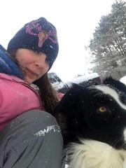 Crystal and Joey (genesee_metcalfs) Tags: family daughterinlaw pets dog australianshepherd snow winter february