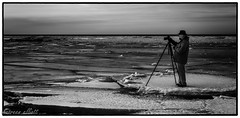 Anything For A Photo (maureen.elliott) Tags: blackandwhite 7dwf landscape ice georgianbay photographer latewinter meaford ontheice nature