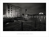 Under the spotlight (Parallax Corporation) Tags: sonya7r2 zeissbatisfe18mmf28 blackandwhite liverpool albertdock nightime bigwheel maritimemuseum wideangle spotlights bollards chains