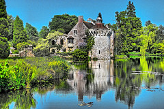 Scotney Castle (Croydon Clicker) Tags: nationaltrust castle building ruin lake water reflection sky trees bushes plants flowers 1500v60f