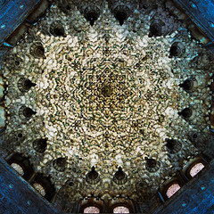 Domed tile ceiling at Alhambra (brianlefevre69) Tags: 6x6 hasselblad 501cm fuji400h