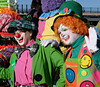 Happy Clowns:  Banjo and IYQ (Colorado Sands) Tags: stpatricksparade denver colorado parade irishparades festive event stpats us americanparades usa america stpaddys sandraleidholdt march 2018 stpatricksdayparade stpatricksday american parades unitedstates celebration women female ladies lorenestadig people costumes smiles happy smiling clown coloradoclowns clowns costume colorful iyq banjo