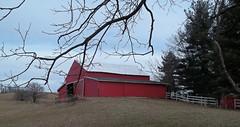 Late winter (LivGreen07) Tags: barn farm building red sky tree michigan