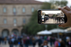 Alternative view of Syntagma Square, Nafplio (jimiliop) Tags: nafplio crowd square people alternative mobile smartphone screen doubleview shootingthroughascreen greece walking building architecture background fingers different samsung nikon d80 focus depthoffield