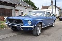Ford Mustang Cabriolet (Monde-Auto Passion Photos) Tags: voiture vehicule auto automobile ford mustang cabriolet convertible roadster spider bleu blue ancienne classique rassemblement evenement france courtenay