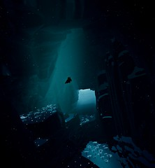 """Diver"" (L1netty) Tags: abzu 505games giantsquid pc games gaming reshade screenshot 4k video game color blue swimming character water depth cave light"