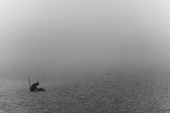 lost in the desert sea / Searching for what? (Özgür Gürgey) Tags: 2018 70300mm bw büyükçekmece d750 nikon fog grainy lake minimal people silhouettes water istanbul negativespace