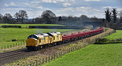 Hitting The Sweet Spot (whosoever2) Tags: uk united kingdom gb great britain england nikon d7100 train railway railroad march 2018 whitchurch shropshire networkrail class97 97304 97302 class37 sun landscape spring