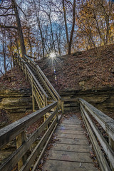 Fall at Clifty Falls (Bernie Kasper (3.5 million views)) Tags: art berniekasper bridge cliftyfallsstatepark cliftyfalls creek d600 family fall hiking historic jeffersoncounty landscape light madisonindiana madisonindianacliftyfallsstatepark madison nature nikon naturephotography new outdoors outdoor old outside photography park raw statepark travel tree trees trail sunset sunburst sun