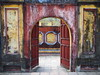 Fading grandeur (Hammerhead27) Tags: door open historic old red yellow weathered worn colour imperialcity citadel faded gate vietnam hue