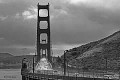 "The Bridge (joeinpenticton Thank you 2.1 Million views) Tags: golden gate suspension bridge san francisco marin county bay ""black white"" bw joeinpenticton joe jose garcia rain raining fog foggy sausalito city town fort point us route 101 state 1 united states california usa america rainy gloomy dark harbor harbour shelter safe monochrone"