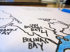 DSC02213 (classroomcamera) Tags: school classroom bolinas bay san rafael marin county area water land map geography geographic handmade handdrawn drawn pen pencil black blue white paper papers maps third grade second desk desks desktop desktops table tables colored color colors pencils 4