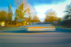 DriveBy 1872: Stopped Carscape (Dimi Sahn) Tags: car urban city motion color speed movement driving trails suburbs candid