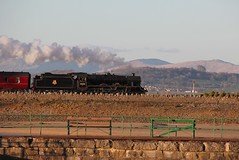 WCRC RTC 'Cumbrian Coast Express' hauled by LMS Stanier 6P5F Jubilee No. 45690 'Leander' approaches Arnside Station 24th March 2018© (steamdriver12) Tags: wcrc rtc coast hauled by lms stanier 6p5f jubilee no 45690 leander viaduct river kent arnside station 24th march 2018 smoke steam coal oil preservation heritage lancashire main line england spring sunshine cumbrian express furness railway
