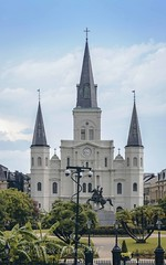 St. Louis Cathedral, viewed across Jackson Square (Victor Wong (sfe-co2)) Tags: america american andrew architecture attraction beautiful building buildings catholicism christian church city cityscape clouds destination downtown famous famousplace frenchquarter green historic historical holy horizontal horse jacksonsquare landmark louisiana new neworleans old orleans outdoors park place religion scene scenic sky skyline spiritual stlouiscathedral tourism town townsquare travel traveldestinations tree usa view