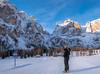 Ready for a new day (Dolomites, Italy) (Adalberto X) Tags: dolomiti dolomites mountains sky ski winter march italy europe morning goldenhour nikon nikkor d7200 travel tourism natura woman blonde sloipe shoes