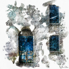 who lives within . . . (YvonneRaulston) Tags: door windows europe italy venice italian charm writing blue texture atmospheric art abstract creativeartphotography colour creative dream day emotive peaceful fineartgrunge impressionist moody moments mysterious old vintage sony soft photoshopartistry surreal white artistry digitalart handwriting