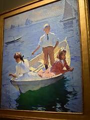 Calm Morning (AntyDiluvian) Tags: boston massachusetts museum artmuseum museumoffinearts americaswing painting frankwestonbenson calmmorning rowboat dory boy girl kids fishing