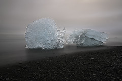 Kind of Blue (courtney_meier) Tags: diamondbeach iceland beach blacksand blacksandbeach clouds evening fog glacialice gloom ice iceberg icebergs longexposure sand jökulsárlón
