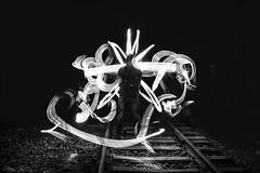 Light painting & Urban exploration (jeffclouet) Tags: paris france europe capital monochrome nb pb bw nikon nikkor d7100 urbain urban urbano urbex exploration metro sncf pc voie rer light lumiere luz painting paint alone seul solo soledad nuit night nightshot noche longexposure exposure silhouette siluetas shape forms downtown city ville cuidad tunnel tunel subway tube abstract abstracto abstrait rue street calle lightpainting trackside bnw