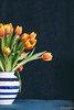 Tulips (WillemijnB) Tags: tulips bouquet boeket fleurs flowers yellow orange blue stripes vase vaas blauw lente voorjaar spring