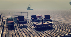 Sunshine, Salt Air, Calm Seas...What a beautiful day to watch the shrimp boats! (kwright73) Tags: chair shadows chairs sand cusions shadow land landscape water ocean salt air saltair boat fishing table tikilight candle pole sun light quiet beautiful dark peaceful love inlove beach rail dock wood boards atpeace pillows second life photo photography places destination travel vacation vacant breeze family seating perfect postcard coast picture time calm