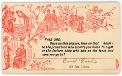 Shall I Be the Proud Bird Who Escorts You Home Tonight? (Alan Mays) Tags: ephemera acquaintancecards escortcards callingcards visitingcards flirtationcards invitationcards namecards names cards samplecards samples paper printed men women couples acquaintance acquaintances acquainted getacquainted courtship courting love escorts escortyouhome seeyouhome birds proud forlorn chaps gaze gazing hugs embraces questions clothes clothing hats dresses coats interiors homes parlors rooms churches fences sitting cupid cupids statues flowers parodies humor humorous funny illustrations scenes borders circles fillintheblanks prices red victorian 19thcentury nineteenthcentury antique old vintage typefaces type typography fonts