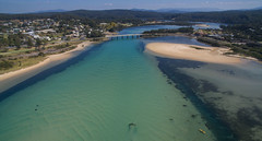 Paddling West (OzzRod) Tags: dji phantom3a djifc300s quadcopter drone aerial oblique estuary intertidal seagrass bridge bermagui kayak