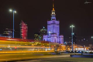 Warsaw night city ligths