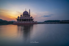 Sunrise at Putra Mosque, Putrajaya. March 2018 (Nur Ismail Photography) Tags: malaysia islam sunrise masjid architecture mosque muslim putrajaya putra religion reflection asia landmark dome islamic lake building travel modern sky lumpur kuala famous city minaret worship culture ramadan tourism river sunset pray asian water landscape blue structure morning attraction exterior beautiful pink background religious east wilayah outdoor holy nature cloud
