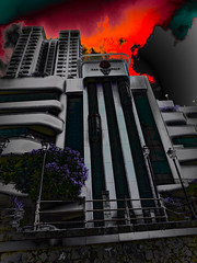 The Night Will Turn to Day (Steve Taylor (Photography)) Tags: riverwalk art architecture digital building black mauve purple red grey railing asia singapore city clarkequay