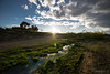 The water that nourish the field (dobetoh) Tags: dobetoh nikon d3300 tokina tokina1116 spring march holiday clouds river water flow landscape green blue wideangle reflection masias moncada spain europe sky field road grass