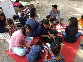 Volunteers teaching flyover kids near IIT Delhi (1st April 2018)