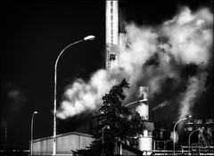 Sûr et sans danger!! / Safe and secure!! (vedebe) Tags: noiretblanc netb nb bw monochrome fumée usine petrole petrochimie ecologie écologie architecture
