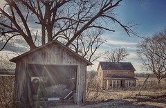 personal detachment... (BillsExplorations) Tags: abandoned abandonedhouse decay ruraldecay abandonedillinois farm country garage detached old forgotten junk personal scenicbluffroad savanna farmhouse tree field
