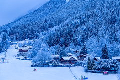 Early Morning in Chamonix (Wolfhowl) Tags: chamonixvalley france frenchalps brevent landscape winter chamonixmontblanc dawn mountains франція snow morning savoy march chamonix forest шамоні chalet houses europe travel mountain