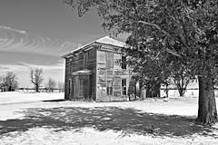 wispy whispers in winter (David Sebben) Tags: abandoned farmhouse mercer illinois black white monochrome winter cold wispy clouds